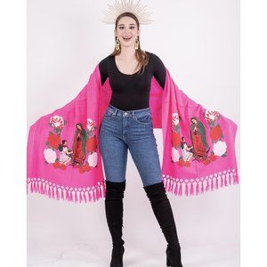 Mexican Our Lady of Guadalupe Shawl Bright Piink
